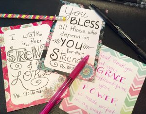 Bible journaling on cards by JoDitt